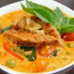 246 Fried in Red Curry, with Eggplant, Bamboo Shoots, Sweet Basil In Coconut Milk